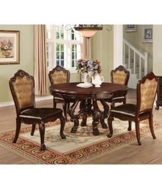 Benbrook 5 Piece Dark Cherry Dining Table Set