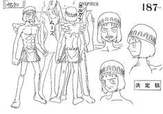 Jaya; Shandora; Skypiea flashback. Seto model sheet, Character design, Official reference, Settei --- Shandian