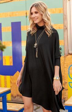 Makadamia Oversizowa sukienka z golfem M512 Golf, Tunic Tops, Model, Fashion, Mathematical Model, Moda, Fashion Styles, Pattern