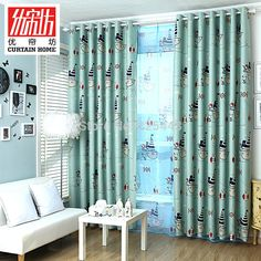 tulle+blackout cartoon child blind window screening for boy and girl cute the ship printed sheer curtains free shipping