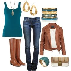 Blue, brown, and gold fall outfit.