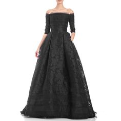 Carolina Herrera Off-the-Shoulder 3/4-Sleeve Fil Coupe Ball Gown ($6,990) ❤ liked on Polyvore featuring dresses, gowns, black, ball gowns, off the shoulder evening dresses, off shoulder gown, off shoulder dress and floral print evening gown