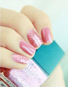 pretty pink glittering wedding nail ideas