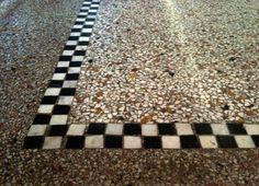 gestorte granito vloer | zwart wit marmeren blokjes | zoek je een vakman voor een naadloze vloer? Marco Maarschalkerweerd Wijk bij Duurstede | hij heeft het druk, dus misschien moet je wel enkele maanden wachten... | 3d ontwerp  | monique van waes mozaiek.com