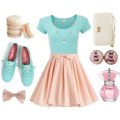 """pretty pastels"" by luvdanceb on Polyvore Keds soops cute, but make skirt longer."