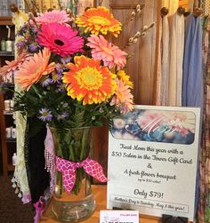 Treat Your Mom!  This Mother's Day we are partnering with Shelly's Florist with an amazing deal! Get a $50 Salon gift card & a beautiful fresh bouquet (valued up to $50) for only $79! It's seriously #theperfectgift #mothersday #freshflowers