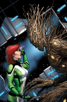 Jean Grey & Groot (All New X-Men and Guardians of the Galaxy: Trial of Jean Grey Variant) - Dale Keown Marvel Comics, Marvel E Dc, Marvel Girls, Marvel Heroes, Marvel Universe, Comic Book Characters, Marvel Characters, Comic Character, Comic Books Art