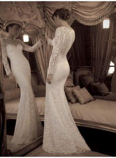 Vintage Lace Long Sleeves Illusion Neckline See Through Mermaid Wedding Dress Sweep Train