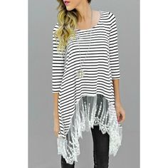 Chic Scoop Neck Lace Spliced 3/4 Sleeve Striped Asymmetric T-Shirt For Women