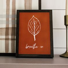 Breathe In. Leaf sign for fall. Farmhouse style wall art. Rustic Mantle, Rustic Wall Decor, Cottage Style Decor, Farmhouse Style Decorating, Shabby Chic Living Room, Shabby Chic Homes, Farmhouse Wall Art, Modern Farmhouse, Fall Wood Signs
