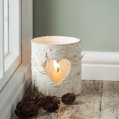 Silver Birch Heart Lantern - £7.00 - from The Contemporary Home Online Shop. For my fireplace