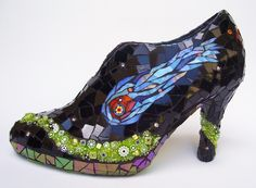 SPACE CASE - Stained Glass Cosmic High Heel Mosaic Shoe Sculpture - krakenmosaics