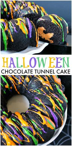 Halloween Chocolate Tunnel Cake is a moist, from scratch, dark chocolate cake filled with a tunnel of orange cheesecake center and drizzled with a cream cheese frosting. Just the right amount of festive and spooky for your Halloween party! | www.persnicke
