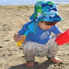 Blue Camo Shark Baby Boy and Toddler Boy Sun Hat #Melondipity