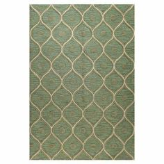 With a rich green hue and captivating ogee motif, this hand-tufted wool rug brings bold style to traditional settings and modern decor alike.   Product: RugConstruction Material: Wool  Color: Blue and creamFeatures: Hand-tufted Note: Please be aware that actual colors may vary from those shown on your screen. Accent rugs may also not show the entire pattern that the corresponding area rugs have.