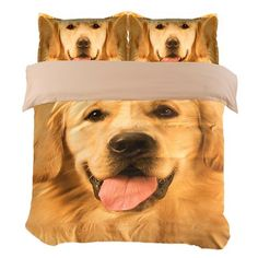 Golden Retriever Dog Print Bedding Set Twin Queen King Size Duvet Cover Flat Sheets with Pillowcase Animal Printed Home Textile