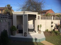 7 x 7 Waltons Wooden Corner Summerhouse Nicola has created a gorgeous garden she shed. We especially love the corner decking to go with her corner summerhouse! Here's what Nicola had to say about her summerhouse: Shed Organization, Shed Storage, Small Storage, Home Design, Design Design, Corner Deck, Corner Garden, Corner Summer House, Pallet Shed Plans