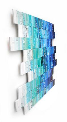 OMBRE azul y verde azulado de la pared arte hecho de