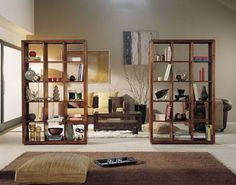 We again liked the idea of a visual break in an open concept garage living area. Room Divider Bookcase, Living Room Divider, Small Space Interior Design, Interior Design Living Room, Room Deviders, Study Room Design, Hanging Room Dividers, Room Partition Designs, Studio Apartment Decorating