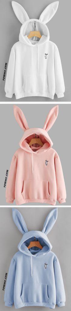 Rabbit Ear Hooded Embroidered Kangaroo Pocket Sweatshirt