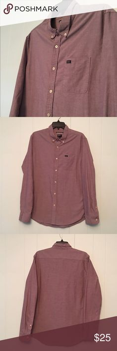 RVCA Purple Button Down Men's Shirt Brand: RVCA  Condition: This item is in Good Pre-Owned Condition! There are NO Major Flaws with this item, and is free and clear of any Noticeable Stains, Rips, Tears or Pulls of fabric. Overall This Piece Looks Great and you will love it at a fraction of the price!  Size: Large - Slim Fit RVCA Shirts Casual Button Down Shirts