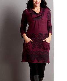 Loving this Plum Lace-Print Shawl Collar Pocket Tunic - Plus on #zulily! #zulilyfinds