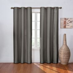 eclipse Madison Thermaback Blackout Curtain (53 CAD) ❤ liked on Polyvore featuring home, home decor, window treatments, curtains, grey, white curtains, eclipse curtains, blackout panels, white grommet curtains and blackout curtains