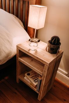 Rustic scaffolding wood bedside table