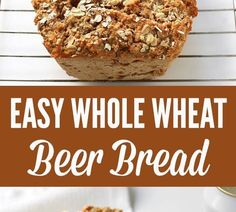 This easy whole wheat bread recipe make a wonderful loaf of crusty bread with minimal time and effort, thanks to a can of beer. NO rising and NO kneading required. Simple Beer Bread Recipe, Gluten Free Bread Recipe Easy, Easy Bread Machine Recipes, Bread Recipes For Kids, Wheat Bread Recipe, Artisan Bread Recipes, Easy Sandwich Recipes, All Purpose Flour Recipes, Cake Recipes In Hindi