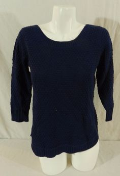NWT Fever Popcorn Knit Ladies Womens 3/4 Sleeve Sweater British Blue Small #Fever #RoundNeck