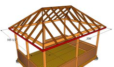 This step by step woodworking project is about how to build a gazebo roof. Building a rectangular gazebo roof is a complex project, as it involves a lot of cuts. Gazebo Roof, Screened Gazebo, Gazebo Plans, Shed Roof, Deck With Pergola, Patio Roof, Pergola Kits, Diy Roofing, Modern Roofing