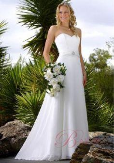 Hippie Wedding Dresses A-line Sweetheart Neckline Satin and Chiffon J1067