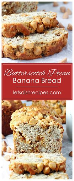 Butterscotch Pecan Banana Bread Recipe -- Traditional banana nut bread gets a delicious twist with the addition of butterscotch chips. Artisan Bread Recipes, Quick Bread Recipes, Healthy Dessert Recipes, Muffin Recipes, Delicious Desserts, Banana Pecan Bread Recipe, Banana Bread Recipes, Simple Sweet Bread Recipe, Breakfast Bread Recipes