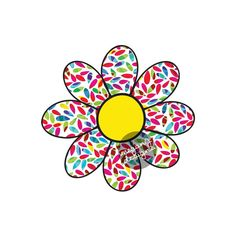 This is an original, hand drawn flower sticker with bright yellow center and a red, pink, green, blue, and yellow pattern on a white background.