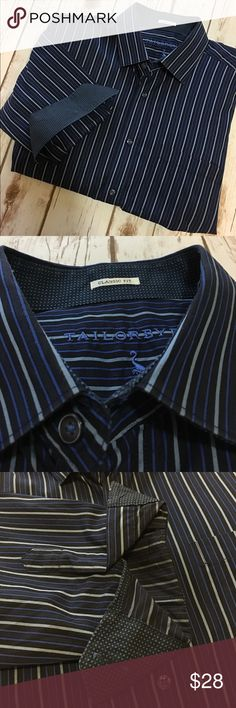 Tailorbyrd - Men's Dress Shirt Tailorbyrd men's dress shirt, in like new condition. Classic fit. Black blue and gray stripes, with flip cuff polkadot pattern. Men's XL. Please be sure to check out all of my other men's items to bundle and save. Same day or next business day shipping is guaranteed. Reasonable offers will be considered! Tailorbyrd Shirts Dress Shirts