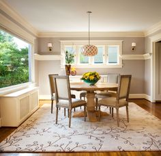Fresh Outlook Dining Room - 1920s Portland foursquare home.  Benjamin Moore Grege Avenue 991