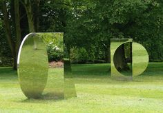 Sculptor; Jeppe Hein, Geometric Mirrors play magic tricks with greenery and light.