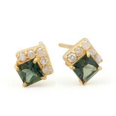 Genuine 0.4ct Green Sapphire Stud Earrings Diamond Solid 18K Yellow Gold Jewelry #Designer #Stud Tourmaline Gemstone, Green Tourmaline, Sapphire Gemstone, Diamond Studs, Diamond Earrings, Stud Earrings, Red Sapphire, Solid Gold Jewelry, Jewelry Designer