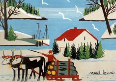"""""""Oxen and Logging Wagon (1),"""" by Maud Lewis"""