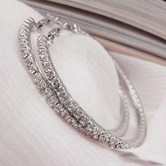 Rhinestone Crystal Hoop Earrings