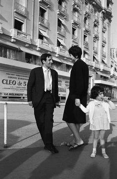 François Truffaut, Madeleine Morgenstern et leur fille Laura au Festival de Cannes 1962