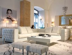 Hollywood Luxe Italian Designer White Leather Sectional Sofa More Luxury Hollywood Interior Design Inspirations To Pin, Share & Inspire @ InStyle-Decor.com Beverly Hills (Use Our Red Pinterest Speed Pin Button Top Of Each Page Happy Pinning)