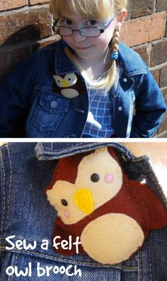 how to sew a woodland felt owl brooch