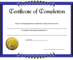 Blank Certificates Templates Free Download Unique Design A Certificate Of Completion #completion .