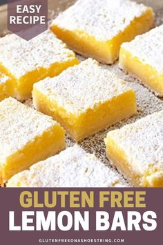 Easy Gluten Free Lemon Bars Need an easy dessert recipe to bring to a potluck or bake sale? These gluten free lemon bars are simply delightful and perfect for any occasion. Made with a scrumptious shortbread crust and refreshing lemon… Continue Reading → Cookies Sans Gluten, Dessert Sans Gluten, Bon Dessert, Gluten Free Sweets, Dairy Free Recipes, Fast Recipes, Gluten Free Lemon Bar Recipe, Gluten Free Potluck, Dairy Free Gluten Free Desserts