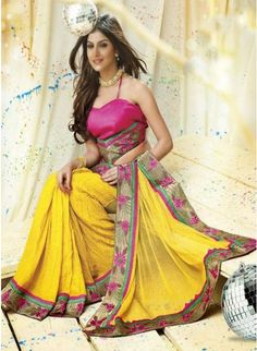 Blooming Yellow color Printed #Saree With Zari Work #designersarees #clothing #womenswear #womenapparel #ethnicwear