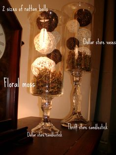 GENIOUS! Dollar store vases and candlesticks - so gorgeous! Fill with various blue, white and moss balls
