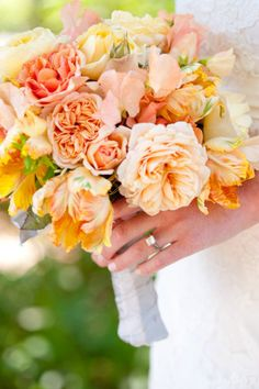 Cheerful Apricot Bouquet with butter yellow color flowers