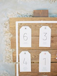 Sweet simple details  -- Escort Cards -  On http://www.StyleMePretty.com/2014/04/01/romantic-diy-wedding-in-portugal/ Photography:  Brancoprata.com on #smp