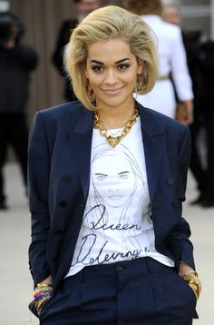 20 Ways to Style Your Graphic Tee - Rita Ora wears hers under a suit